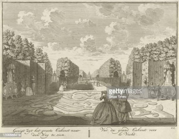 View from the cabinet in the garden of House ter Meer in Maarssen, The Netherlands, Hendrik de Leth, c. 1740.
