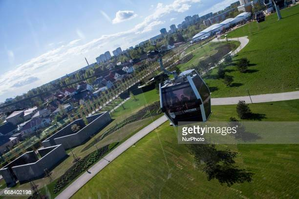 View from the cable car during the opening of the IGA 2017 in Berlin Germany on April 13 2017 The exhibition will open from April 13 until October 15...