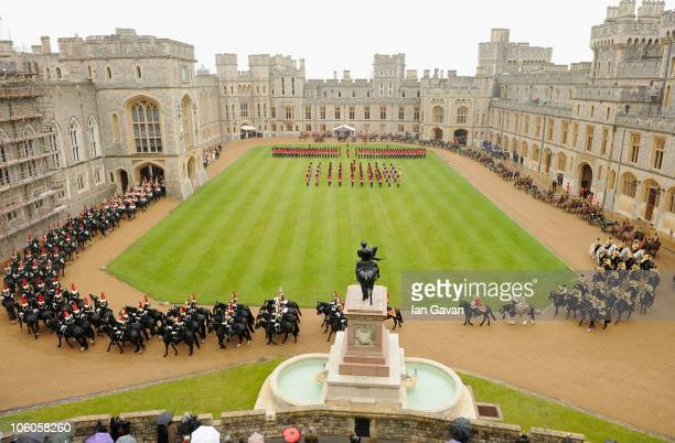 View from the Cannonade across the quadrangle of Windsor Castle during a Guard of Honour for the visiting Emir of the State of Qatar Sheikh Hamad bin...