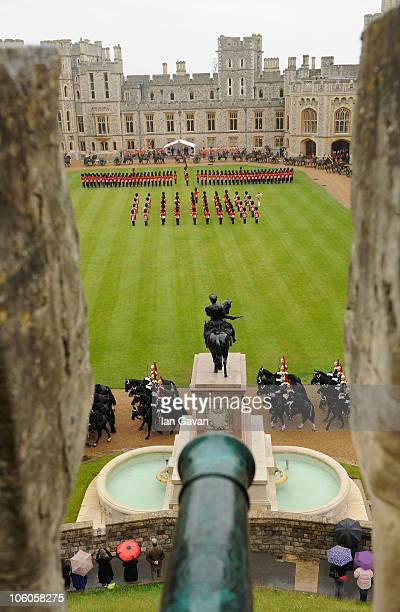 View from the Cannonade across the quadrangle of Windsor Castle during a Guard of Honour for the visiting Emir of the State of Qatar, Sheikh Hamad...