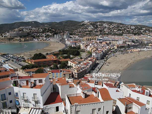 View from the castle from the beaches of Peniscola and the small isthmus that connects the new area of town with the peninsula on which stands the...