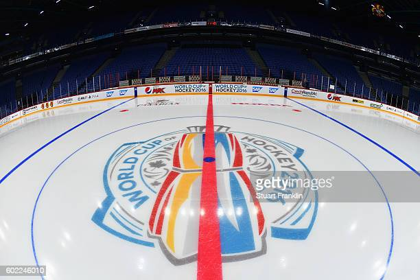 A view from the center of the ice during practice for Team Finland at the Hartwell Areena on September 7 2016 in Helsinki Finland