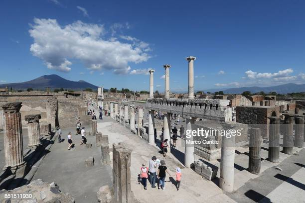 A view from the Championnet complex of the main square of the archaeological excavations of Pompeii Behind the Vesuvius volcano