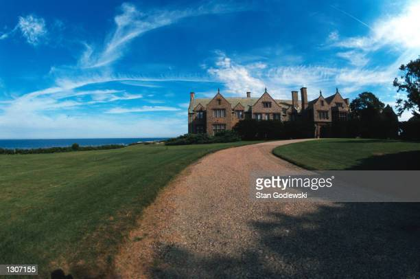 View from the circular drive of Doris Duke''s granite and sandstone mansion in the summer home called Rough Point July 2000 located near the end of...