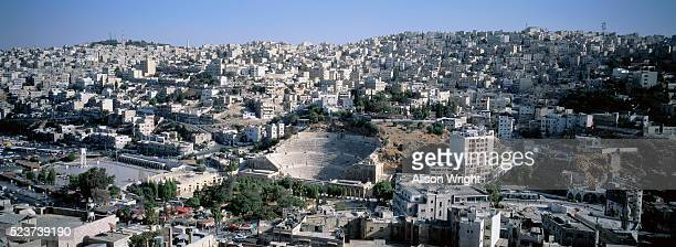 view from the citadel of amman and roman amphitheater - alison roman stock pictures, royalty-free photos & images