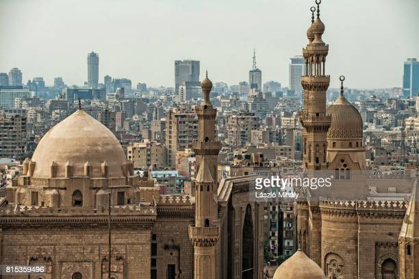 View from the Citadel on the Madrasa of Sultan Hassan Mosque and the city center of Cairo, Egypt,