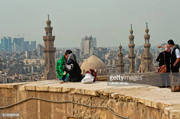 View from the Citadel on the Madrasa of Sultan Hassan Mosque and the city center of Cairo, Egypt._3