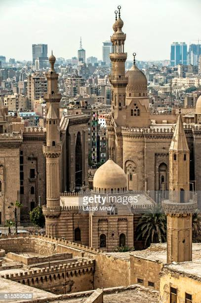 View from the Citadel on the Madrasa of Sultan Hassan Mosque and the city center of Cairo, Egypt._4