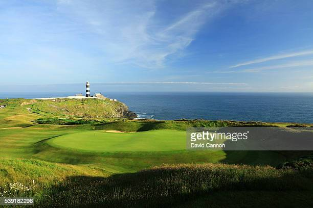 View from the clubhouse balcony of the par 4. 18th green at the Old Head of Kinsale Golf Links on June 07, 2016 in Kinsale, Ireland.