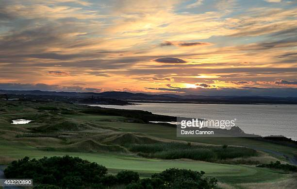 A view from the clubhouse over the courses to the City of St Andrews at sunset at The Fairmont St Andrews Bay Golf Resort on July 30 2014 in St...