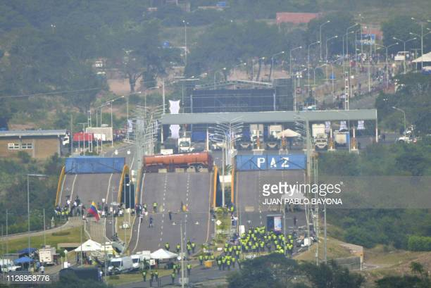 View from the Colombian side of the Tienditas International Bridge at the border between Colombia and Venzuela on February 23 2019 USdonated...
