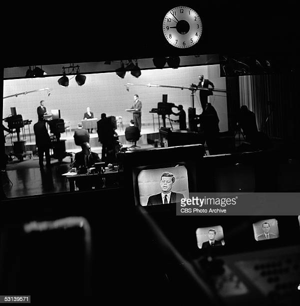 View from the control room of presidential candidates Senator John F Kennedy and Vice President Richard M Nixon as they appear on the firstever...