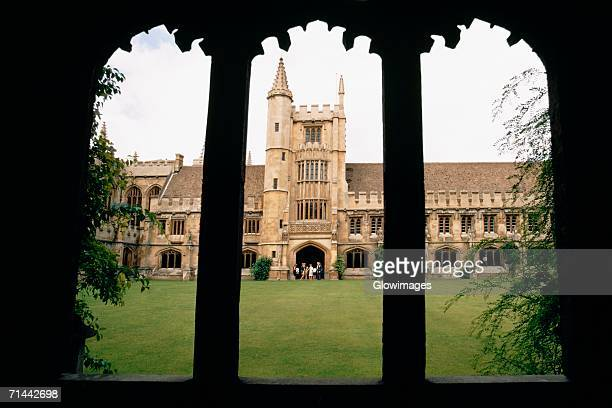 view from the courtyard of magdalen college, oxford, england - oxford university stock pictures, royalty-free photos & images