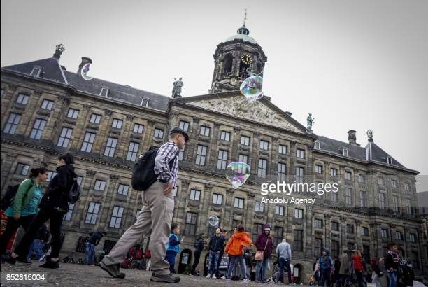 A view from the Dam Square in Amsterdam Netherlands on September 24 2017