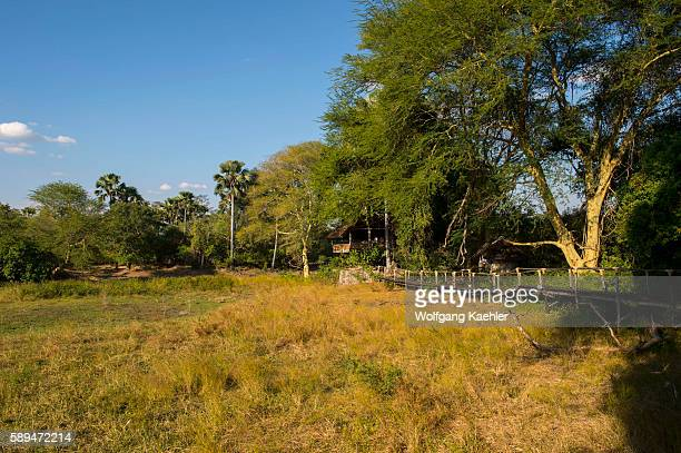 View from the deck of Mvuu lodge to the Shire River in Liwonde National Park Malawi