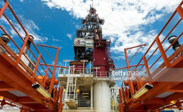 View from the deck of the tower of La Muralla IV exploration oil rig operated by Mexican company 'Grupo R' and working for Mexico's stateowned oil...