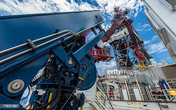 View from the deck of the tower of La Muralla IV exploration oil rig operated by Mexican company Grupo R and working for Mexico's stateowned oil...