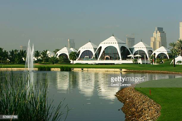 A view from the dogleg on the 463 yard par 4 9th hole accross the lake to clubhouse and green on the Majilis Course at the Emirates Golf Club on...