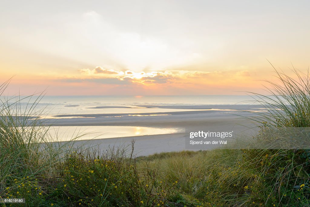 View from the dunes of a sunset at the beach : Stock Photo