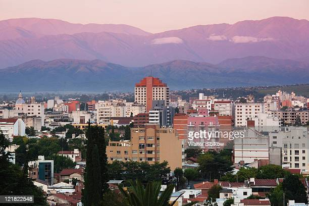 view from the east at dawn, salta province, argentina - salta argentina stock photos and pictures