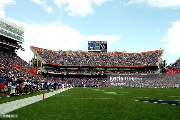 A view from the endzone as the Tennessee Volunteers take on the Florida Gators at Ben Hill Griffin Stadium on September 15 2007 in Gainesville...