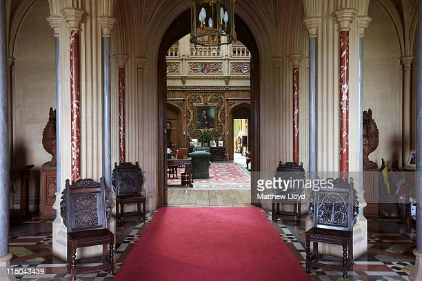 View from the entrance hall, 2leading into the saloon in Highclere Castle on March 15, 2011 in Newbury, England. Highclere Castle has been the...