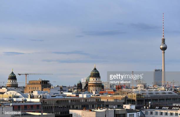 View from the EWerk in BerlinMitte across the rooftops of the capital with the French cathedral German cathedral the cupola under construction of the...