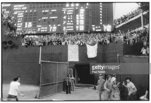 View from the field of the cheering crowd during an antidisco promotion at Comiskey Park Chicago Illinois July 12 1979 The event held between games...