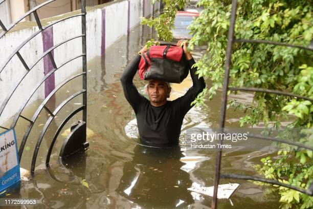 A view from the flooded Rajendra Nagar area on September 30 2019 in Patna India Heavy rains for the last 3 days created water logging in Patna and...