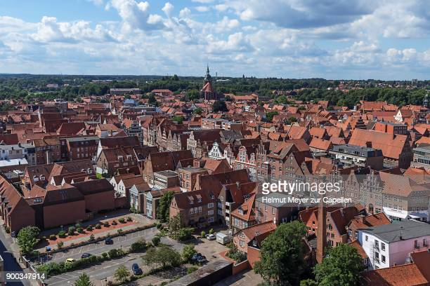 view from the former water tower to the old town with st. michaeliskirche, lueneburg, lower saxony, germany - lüneburg stock photos and pictures