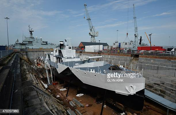 A view from the front of the newly restored HMS M33 Minerva in Portsmouth's Historic Dockyard on April 16 2015 Britain's last surviving warship from...