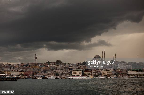 View from the Galata Bridge to the old center on October 16, 2009 in Istanbul, Turkey. The Turkish metropolis on the Bosphorus, in the past capital...