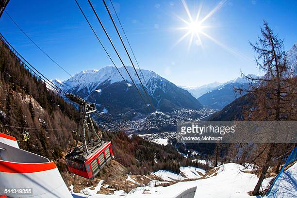view from the gondola station to the valley - クールマイヨール ストックフォトと画像