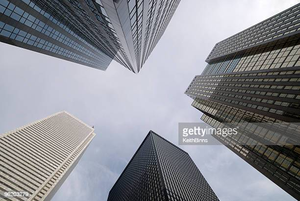 View from the ground looking up at skyscrapers