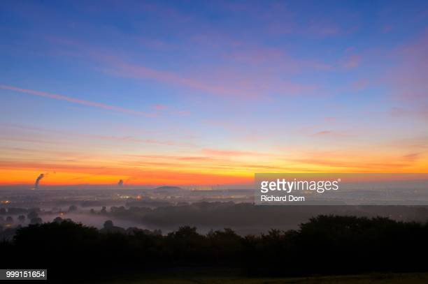 View from the Halde Norddeutschland spoil tip onto the Lower Rhine and the western Ruhr district at dawn, Neukirchen, North Rhine-Westphalia, Germany