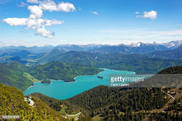 View from the Heimgarten to the Walchensee, Toelzer Land, Upper Bavaria, Bavaria, Germany