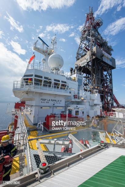 View from the helideck of La Muralla IV exploration oil rig operated by Mexican company 'Grupo R' and working for Mexico's stateowned oil company...