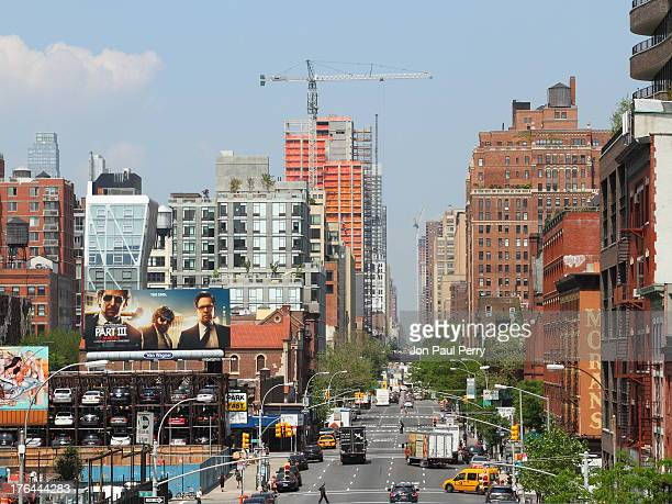 View from the High-Line at 10th Ave & 17th Street Manhattan New York City looking north capturing the strong verticals and horizontals, buildings...