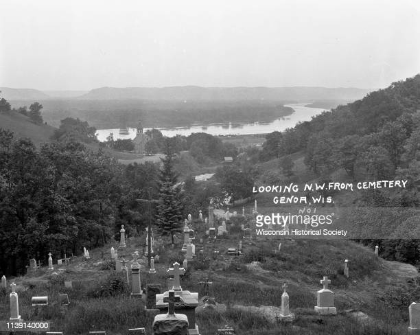 View from the hilltop at the Genoa cemetery looking down towards the village the Mississippi River and the Minnesota border Genoa Wisconsin 1922