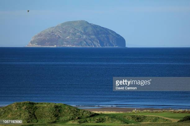 A view from the hotel of the green on the par 3 fourth hole on the Ailsa Course with the Island of Ailsa Craig behind at the Trump Turnberry Resort...