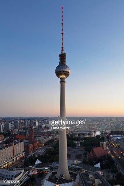 View from the Hotel Park Inn on Alexanderplatz with TV tower, Berlin Mitte, Berlin, Germany