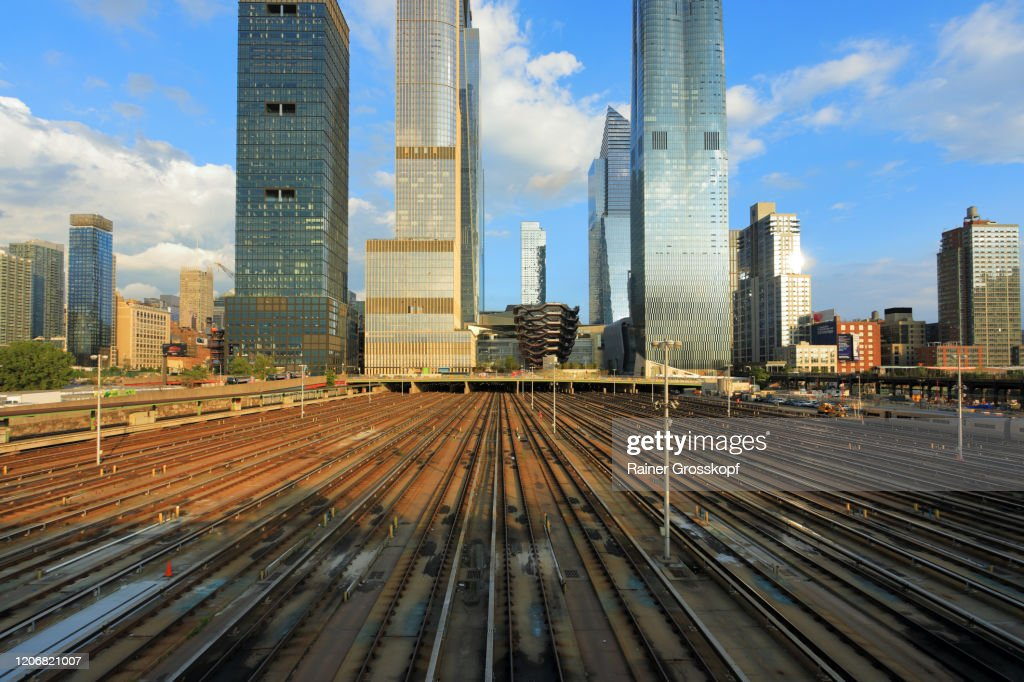 View from the Husdon side at the skyscrapers of Hudson Yards : Stock-Foto