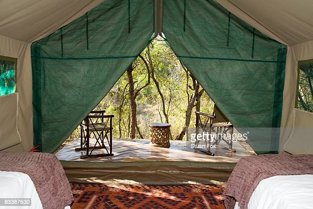 View from the inside of a luxury safari tent, KwaZulu Natal Province, South Africa