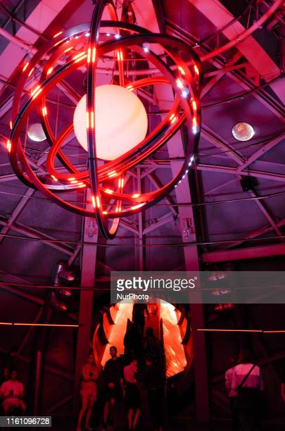 View from the inside of the Brussels Atomium in Brussels on August 10 2019 Designed by the engineer André Waterkeyn and architects André and Jean...