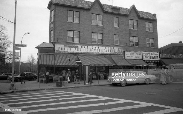 View, from the intersection of 103rd and National streets, of various businesses along National Street, in the Corona neighborhood of Queens, New...