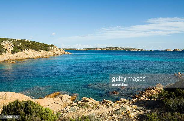 view from the island of budelli, sardinia - bay of water stock pictures, royalty-free photos & images