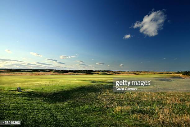 View from the left side rough on the approach to the green on the par 4, 10th hole on the Old Course at St Andrews venue for The Open Championship in...