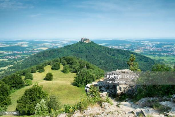 View from the lookout point Zeller Horn across the Zollernalb with Hohenzollern Castle, Zollernalb district, Baden-Wuerttemberg, Germany