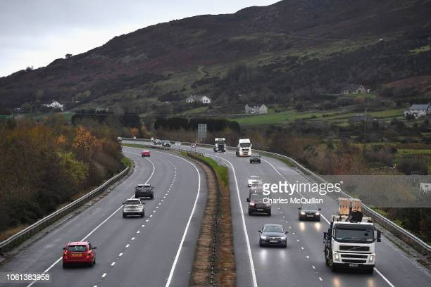 View from the M1 motorway bridge on November 14 2018 in Newry Northern Ireland Theresa May will today attempt to secure the backing of her government...