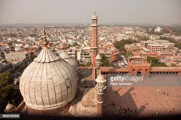 View from the minaret of the Friday Mosque Jama Masjid across the roofs of the city, Delhi, India